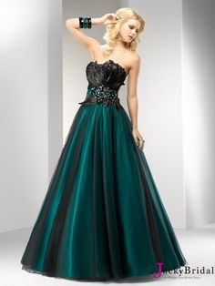 A Line Tulle Satin Prom Dress 2013