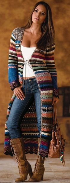 / knitted and knitted bohemian sweater coat / boho style / - . / knitted and knitted bohemian sweater coat / boho style / - # Bohemian Always want. Cardigan Au Crochet, Cardigan Long, Crochet Coat, Crochet Clothes, Sweater Cardigan, Crochet Shoes, Knit Poncho, Crochet Winter, Knitted Coat
