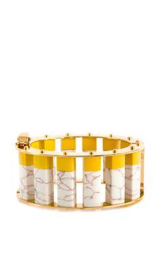 Shop Lele Sadoughi Stone Column Slider Bracelet In Canary Yellow by Lele Sadoughi for Preorder on Moda Operandi