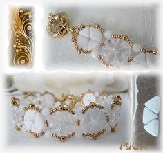 """Schéma ...Bracelet  """" Ondine"""" de Les perles de Puca Rocaille 8  Rocaille 15  Perles rondes aplaties 3x4mm  Perles Khéops"""