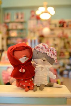 Red Riding Hood fox and Grandma Wolf by Maileg.