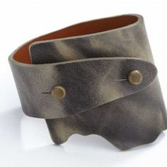 Genuine Wide Wrap Leather Bangle - Green Grey Color