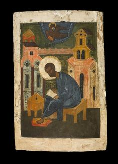St Mark The Evangilist    Icon painted in egg-tempera on wood prepared with linen and gesso. Subject: St Mark seated  in front of a stylised architectural setting, his gospel and writing desk by his right knee; above his head in a hemisphere is the symbol of the evangelist, the eagle with a book in its claws.