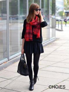 Plaid scarf + all black