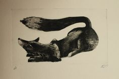 #Fox #Monoprint, #Monotype, #Print, One of a Kind Original #Art,  #Animal #Impressionism #printmaking