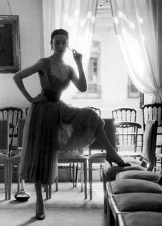atricia in a dress with harem-like pants of turquoise chiffon by Jacques Fath, photo by Kurt Hutton for the Picture Post, August 1953