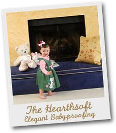 elegant fireplace babyproofing. I love sharing genius products that I find... anyone else with a deathtrap brick fireplace hearth this is great and you'll be hard pressed to buy the fabric and foam to make your own for cheaper than this- especially once you factor in the cutting, measuring, sewing and general figuring it out stress.