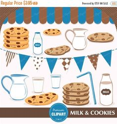 70% OFF SALE Milk and cookies clipart, party clipart, boy clipart, birthday clipart, cookies clipart, milk clipart, commercial use - CA164 by PremiumClipart on Etsy