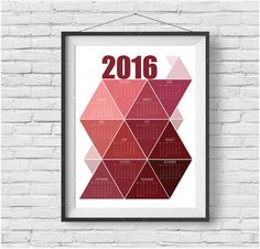 Red Printable Calendar 2016, Yearly Calendar 2016, 2016 Calendar Art, Geometric Calendar 2016, Red Home Decor, triangle art INSTANT DOWNLOAD