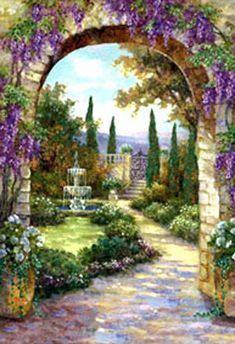 GBP - Dolls House Miniature Tapestry Effect Picture Hanging Or Scale 31 Large Tapestries, Canvas Art, Canvas Prints, Garden Fountains, Garden Painting, Canvas Pictures, Tapestry Wall Hanging, Beautiful Paintings, Beautiful Gardens