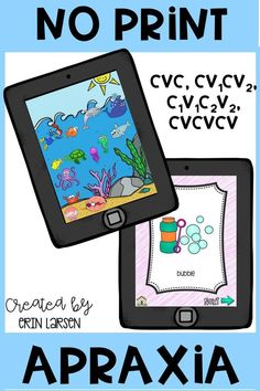No prep, no print! This interactive apraxia resource is perfect for grab-no-go therapy.  These apraxia activities cover CVC, CV1CV2, C1V1C2V2, CVCVCV, and CVC (3 sets).