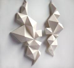 Edgy Geometric Earrings // Glam Rock Earrings // Rocker Chic Earrings // White // Modern // Spring Jewelry // Rocker // 3D Printed