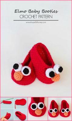 beautiful crochet baby elmo baby booties
