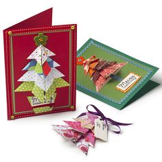 Make a Christmas card with a difference this year with origami. Often thought to be complex or confusing, learn how with this easy how-to christmas card. Origami Christmas Tree Card, Mini Christmas Tree, Xmas Cards, Christmas 2014, Christmas Projects, Holiday Crafts, Origami Cards, Origami Tree, Diy Origami