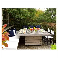 outdoor pallet furniture | GAP Interiors - Large wooden exterior dining table - Picture library ...