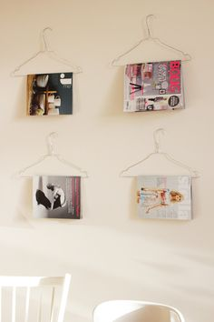 magazines on coat hangers