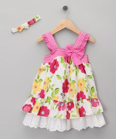 Take a look at this Pink Floral Bow Dress & Headband - Infant & Toddler by Just Too Cute on #zulily today!