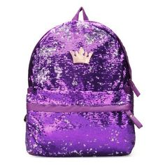 Fashion Crown Sequin Women Paillette Schoolbag Backpack ($19) ❤ liked on Polyvore featuring bags, backpacks, purple, zipper bag, zip bag, patterned backpacks, purple crossbody and purple bags
