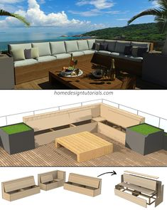 DIY Outdoor Seating To learn how to design and build your own outdoor seating visit homedesigntutori Outdoor Deck Decorating, Diy Outdoor Furniture, Outdoor Decor, Bench Furniture, Deck Seating, Outdoor Seating, Patio Storage Bench, Diy Bench, Diy Patio