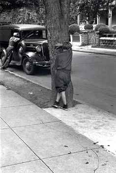 Kids on the Street Playing Hide and Seek, New York City by Helen Levitt. Date: ca. 1942