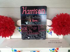 Project Nursery - Birthday Chalkboard Great idea to showcase and record baby's favorite things by his 1st B-Day