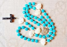 $93.45 Turquoise Native American Style Catholic Rosary by BlueWorldTreasures