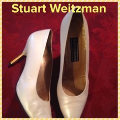 """Here's Your Shoe, Cinderella"" gorgeous shoes! Amazing and alluring heels by Stuart Weitzman!!  Pointed toe with an eye catching 3 1/2 inch heel with a gold tone accent. All leather!! Great neutral cream color will go with all of your fantastic outfits!! Stuart Weitzman Shoes Heels"