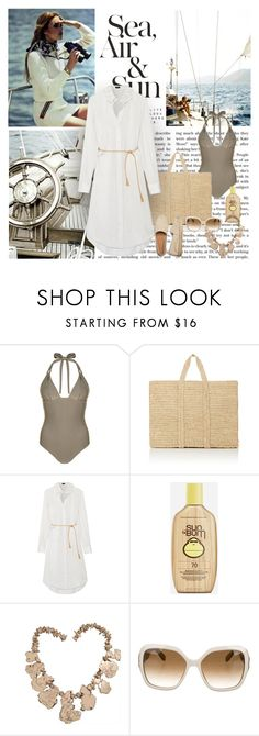 """""""Summer Weekend Escape"""" by dezaval ❤ liked on Polyvore featuring Cotton Candy, Monsoon, Soeur, Joseph, Sun Bum, Neiman Marcus and Salvatore Ferragamo"""