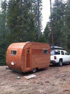 "Hand crafted ""Woody"" canned ham travel trailer"