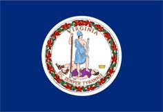 """VIRGINIA State Flag - Nickname """"The Old Dominion"""""""