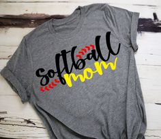 These cute Softball Mom shirts will be great to support those players on the field. If you perfer a different color shirt please list at checkout. Also vinyl colors will come as pictured until specified otherwise. Baseball Mom Shirts, Softball Mom Shirts, Softball Crafts, Softball Quotes, Basketball Shirts, Girls Softball, Sports Shirts, Softball Stuff, Softball Socks