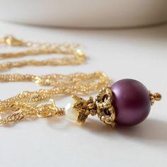 Bridesmaid Jewelry Plum Necklace Beaded Pendant by FiveLittleGems, $14.00