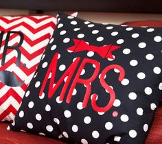 Mrs. Bow pillow made with Cricut Iron-on. Make It Now with the Cricut Explore machine in Cricut Design Space.