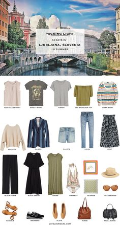 Do you need some ideas with what to pack for Ljubljana, Slovenia in the summer time? This may be the post for you. A packing list for Slovenia with outfit ideas that should be able to inspire you. What to pack for Ljubljana Packing Light Summer, Summer Packing Lists, Travel Outfit Summer, Summer Outfits, Packing Tips, Summer Travel, Travel Packing, Travel Wear, Travel Checklist