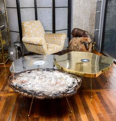 Free Form Brass And Agate Coffee Table