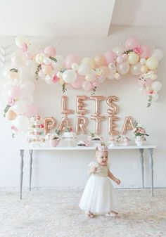 First birthday tea party celebration for our little girl, Scottie Rose! Lots of neutral, pinks, rose gold and floral party decor. Balloon garland arch and lots of party decor inspiration. Tea Party Birthday, 1st Birthday Girls, Baby Party, First Birthday Parties, Tea Party Theme, Girls Tea Party, Tea Party Baby Shower, 2 Year Old Birthday Party Girl, Graduation Parties