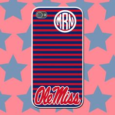 Ole Miss Custom Monogram Cell Phone Case - Personalized University of Mississippi Rebels SEC College Team Collegiate Custom Cover by NouveauGypsyDesigns, $14.99