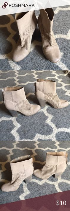 Tan mesh booties Good used condition. Tan mesh booties. Has some stains and very small testing in the mesh by the front toes included in pictures. Hardly worn.  Zippers work fine in the back. Made out of leather. Shoes Ankle Boots & Booties