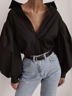 New Arrival Hot Sale 2019 Autumn Turn-Down Collar Loose Shirt Women Fashion Lantern Sleeve Casual Tops Solid Blouse Black Women Fashion, 80s Fashion, Korean Fashion, Fashion Outfits, Fashion Tips, Travel Outfits, High Fashion, Winter Fashion, Fashion Trends