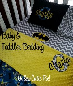 Personalized Superhero nursery bedding, Baby & Toddler custom Batman bedding - 3 piece set. Daycare, Preschool, Travel pillows Batman on Etsy, $145.00