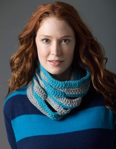 Crochet this eyelet cowl in eye popping colors of Lions Pride Woolspun.