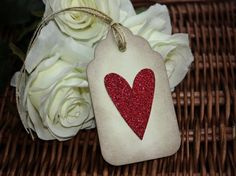 Glitter Heart Vintage Style Tags - Set of 5
