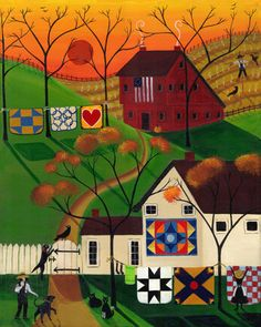 Autumn Sunrise Quilt Folk Art Print