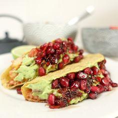 Vegan mexicaanse taco's – met een topping van granaatappelpitjes en guacamole