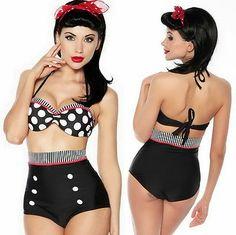 Retro Pinup Rockabilly Vintage 2pcs Pushup Top High Waist Bikini Swimsuit XL | eBay