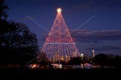 Zilker Park Christmas Tree Lighting as visitors gather to celebrate the festival holiday season.  www.herronstock.com