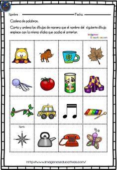 Actividades para jugar a las palabras encadenadas - Imagenes Educativas Teacher Tools, After School, Speech Therapy, Clip Art, Classroom, Writing, Education, Reading, Logos