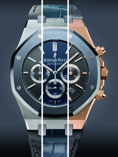 A composite of the Audemars Piguet Royal Oak Leo Messi Limited Edition showing the various models