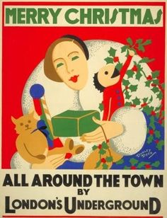 Merry Christmas, by Dudley Dyer, 1932.  Published by Underground Electric Railways Company Ltd, 1932.  From the collection of the London Transport Museum.