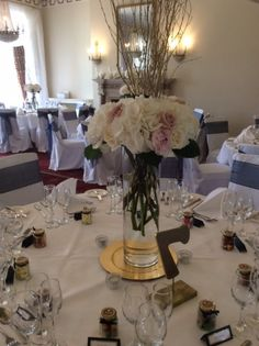 Wedding Table Centrepiece Of Tall Cylinder Gl Vase With White Hydrangea Pink Peonies Roses